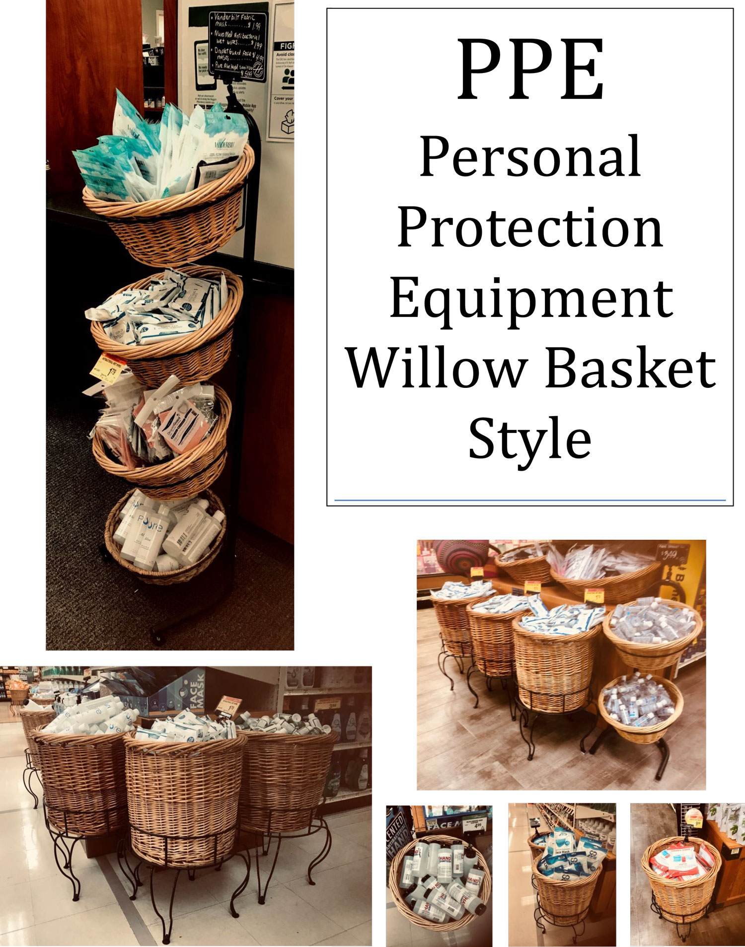 PPE PERSONAL PROTECTION EQUIPMENT WITH WILLOW BASKET DISPLAYS
