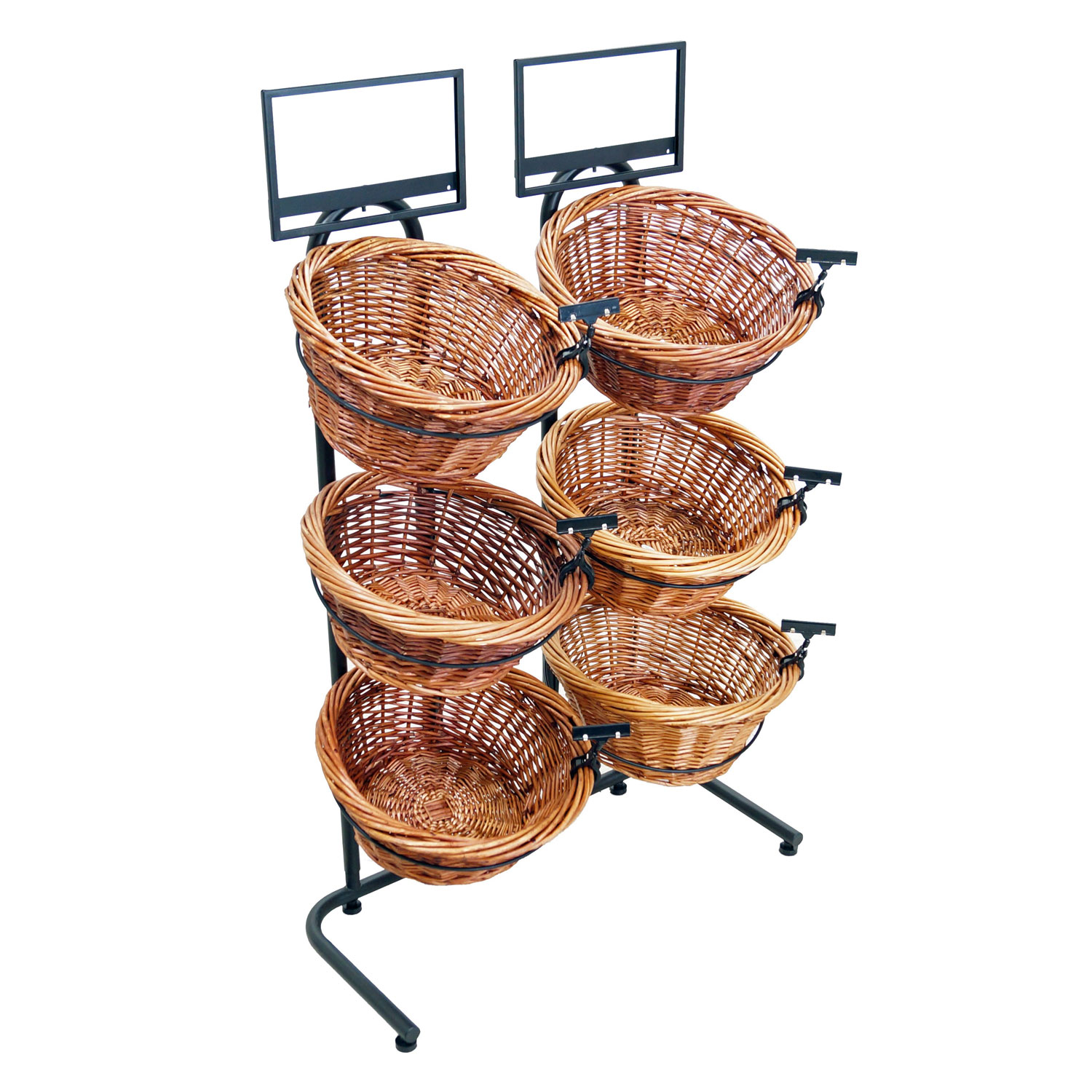 3 Tier Willow Basket Floor Display With 6 Round Baskets Sign Frame And Clip Included