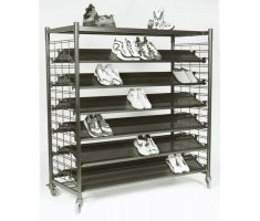 slat grid display with running shoes