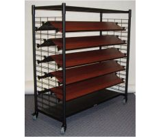 slat grid display with colored shelving