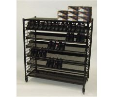 slat grid display with shelving and dress shoes