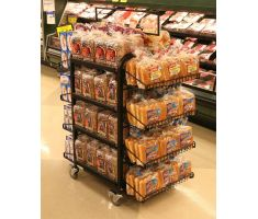 Large wired display with shelving and bakery items