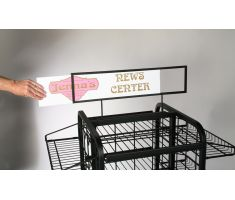 large wire display with sign frame and graphic