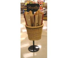 Single willow basket display with sign frame and baguettes