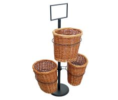 Triple Willow Basket Stand with Sign Frame