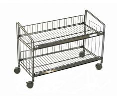 Knee-high two shelf display with wheels