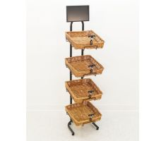 4 Tier willow basket floor display with sign frame and sign clips