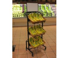 3 Tier Rectangular Willow Basket Display filled with bananas in produce section