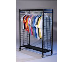 Mobile floor display with rectangle base and tube steel chassis. Two parallel slatgrid walls act as the sides and they have a hanging bar and upper shelf conjoining them. Picture shows many different articles of clothing hanging.