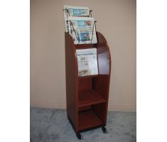wire publication holder on wooden display