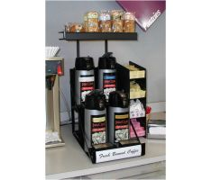 Coffee urn topper with coffee and coffee accessories