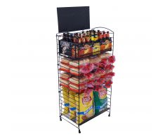 5 Shelf Display with Beer, Buns, and chips
