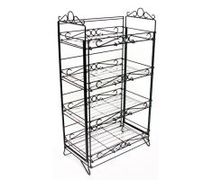 b2442F fold up ornate wire floral display. Comes with 4 identical vertically aligned shelves. There are also decorations on the top of the frame that can be used as sign frames.