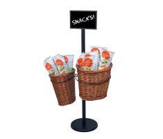 Basket stand with two willow baskets - filled with chips