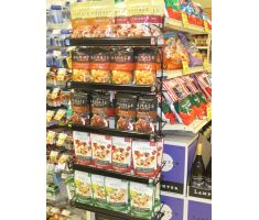 Wire cooler display with nuts and other snacks