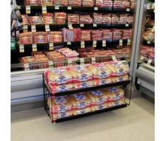 2- level wire floor display with shelves holding hot dog buns
