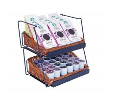 Counter Willow Basket Display with coffee accessories