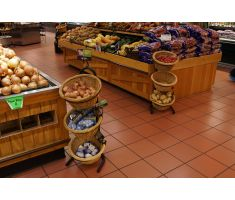 Willow basket displays in the produce section