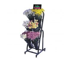 floral cart filled with variety of floral and sign frame