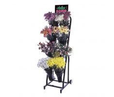 floral cart with variety of floral and sign frame