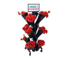 floral display with sign frame and graphics