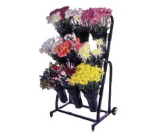 Floral display with single axis wheels and 9 floral vases. vases spread over three vertical levels on slightly slanted back frame. Picture depicts display holding many different types of flowers and bouquets.