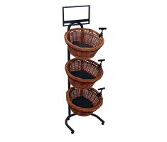 Vertical floor display with 3 willow baskets, sign clips, sign frame, and mesh liners