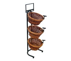 Vertical floor display with 3 willow baskets, sign clips, and a sign frame