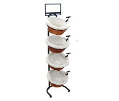 Display with 4 willow baskets, sign clips, sign frame, and cloth liners