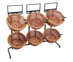 6 basket horizontal display with clips and sign frames