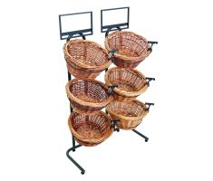3-tier Side-by-side Willow Basket display with  6 baskets, 2 sign frames, and sign clips