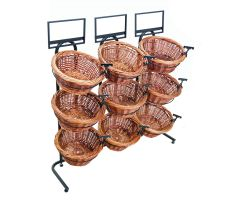 Horizontal floor display with 9 willow baskets, sign clips, and sign frames