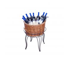 Large Willow Basket filled with wine bottles in wire stand