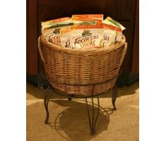 Medium Willow basket in stand filled with focaccia chips