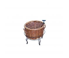 Empty Small Willow Basket in Wire Stand with Sign Clip