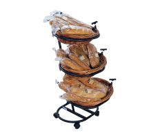 3 Tier Oval Willow Basket filled with French bread