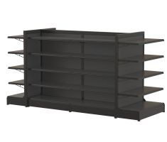 large steel floor display with 5 levels of 360 degree shelving
