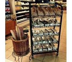 Bakery Display with shelving holding garlic bread