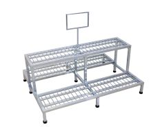 sturdy multi-level shelving space for outside use and sign frame