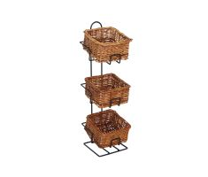 3 level counter basket display with 3 square willow baskets