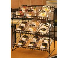 3 shelf wire counter display with bakery products