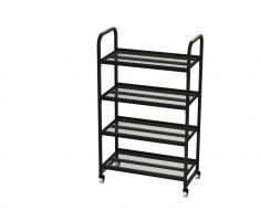 Mobile cart with 4 shelves for stocking purposes