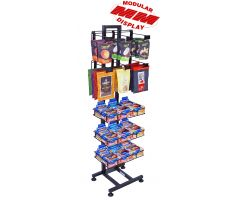 floor display with black tube steel back frame with modular design allowing for many different configurations with wire shelving and wire hooks. Picture shows one configuration with lots of jerky products and protein bars.