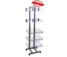 steel vertical display with wire baskets and hooks for snacks