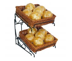 Willow Basket counter display with sign clips and produce