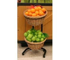 2-Tier round basket display filled with oranges and apples
