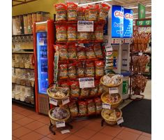 Willow basket displays fitting in with the store