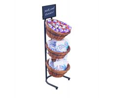 Willow basket display with candy and sign frame with graphics