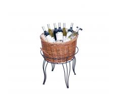 Single willow basket display with wine bottles
