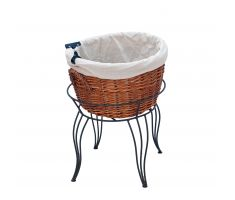 Single willow basket display with cloth liner and sign clip